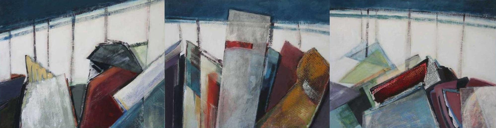 Pendiente , 2006. Acrílico, técnica mixta sobre tabla. 80 x 300 cm